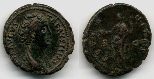 Ancient Coins - Faustina AE AS, Near EF, SCARCE, provenanced Ex: Boston Museum of Fine Arts Collection