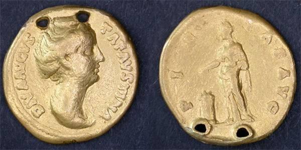 Ancient Coins - Faustina Sr. Postumous Aureus, AVF, Holed as commemorative jewelry.