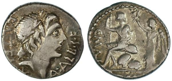 Ancient Coins - L. Caecilius Metellus, C. Poblicius Malleolus, A. Postumius Sp. f. Albinus AR Denarius, VF, see notes, 96 - 92 B.C.E.