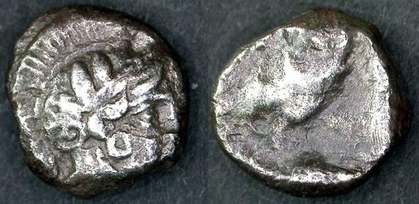 Ancient Coins - Gaza RARE Drachm, 5th - 4th Century B.C.E., AEF/F+, EXCEPTIONAL obverse