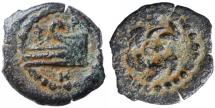 """Ancient Coins - Herod Archelaus AE Prutah, GVF, """"Prow of galley"""", 4 B.C.E. - 6 C.E."""