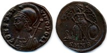 Ancient Coins - Constantine I the Great Commemorative AE 18, Ch. EF, struck 330 - 346 B.C.E.