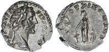 Ancient Coins - Antoninus Pius AR Denarius, EF,  Pietas placing hands on two children, 155/156 C.E.