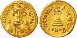 "Ancient Coins - Constans II ""Beardless Type"" AV Gold Solidus, GVF, 641 - 646 C.E."