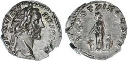 Ancient Coins - Antoninus Pius AR Denarius, EF,  Pietas placing hands on two children, 155/156 C.E.