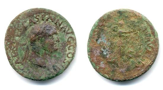 "Ancient Coins - Vespasian, ""VICTORIA NAVALIS"" AE as"