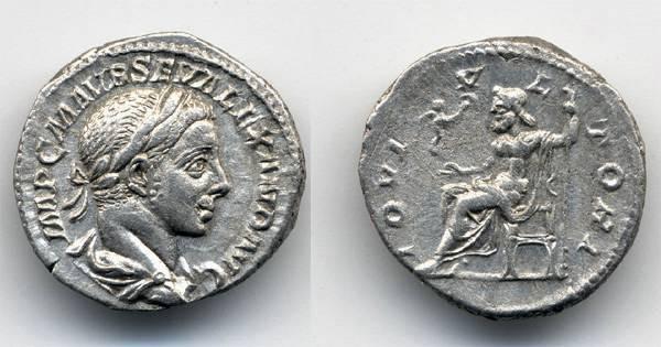 Ancient Coins - Severus Alexander AR Denarius, EF/Near EF