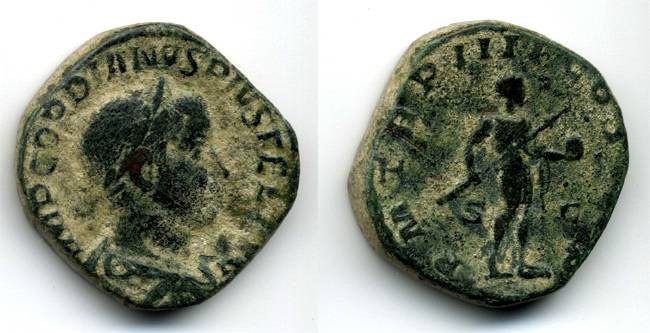 Ancient Coins - Gordian III Sestertius, VF, Gordian holding globe and carrying spear