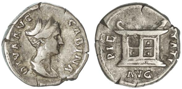 Ancient Coins - Sabina AR Denarius, Near Very Fine, RARE see notes, 137 - 139 C.E.