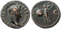Ancient Coins - Nero AE AS, GVF, Rome Mint, 65 C.E.