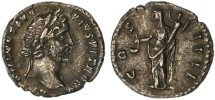 Ancient Coins - Antoninus Pius AR Denarius, GVF, 151/152 C.E.