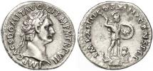 Ancient Coins - Domitian AR Denarius, VF+, Broad flan with FULL legends, 88 C.E.