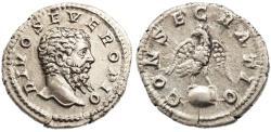 Ancient Coins - Divo Septimius Severus AR Denarius, AEF/GVF, Circa. 211 C.E.