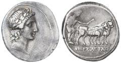 Ancient Coins - Octavian AR Denarius, Very Fine, 30 - 27 B.C.E.