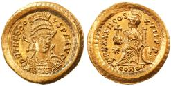 Ancient Coins - Theodosius II AV Gold Solidus, Choice MINT State, 443 - 450 C.E.