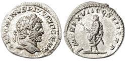 Ancient Coins - Caracalla AR Denarius, Extremely Fine, 214 C.E
