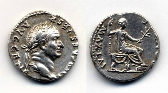 Ancient Coins - Vespasian AR Denarius, Near EF, Emperor seated Right