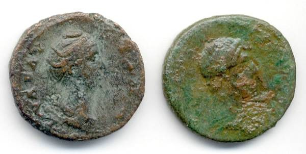 Ancient Coins - Lot of 2 Imperial AE, Hadrian and Faustina Sr., GREAT Stocking Stuffer