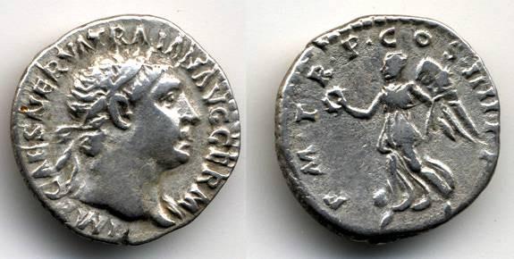 """Ancient Coins - Trajan AR Denarius, """"Victory"""", VF"""
