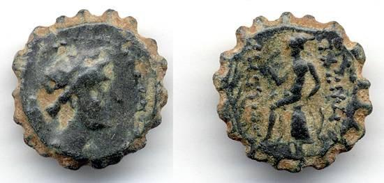 Ancient Coins - Antiochus IV Epiphanes AE 14, Tyrant of Hannukah, circa. 170 B.C.E.