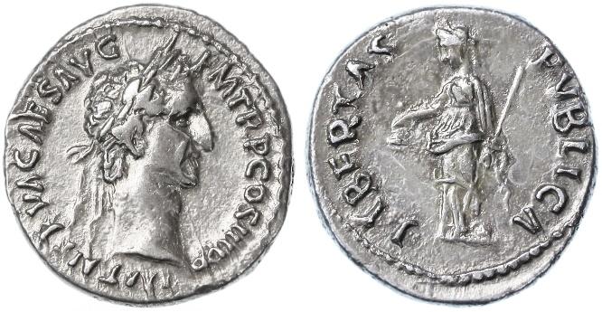 Ancient Coins - Nerva AR Denarius, Extremely Fine, 97 C.E.