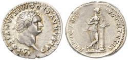Ancient Coins - Domitian as Caesar AR Denarius, Near EF, Circa. 79 C.E.