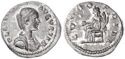 Ancient Coins - Plautilla AR Denarius, Extremely Fine, 202 - 205 C.E.