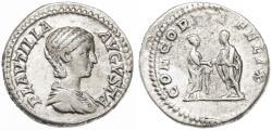 Ancient Coins - Plautilla AR Denarius, VF+/VF, 203 C.E.