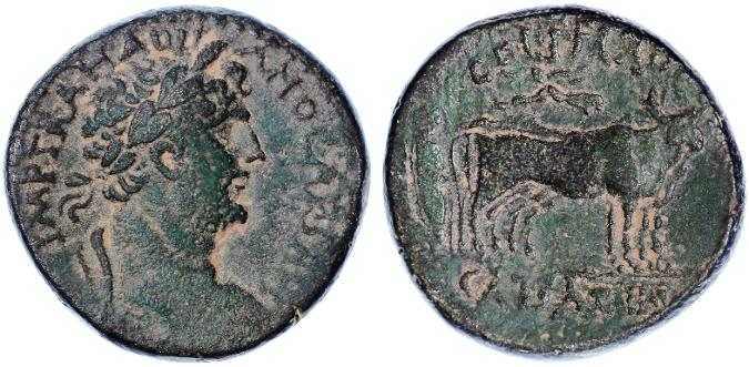 Ancient Coins - Caesarea Maritima Large AE, Hadrian Founder's coin, Choice VF, 117 - 138 C.E.