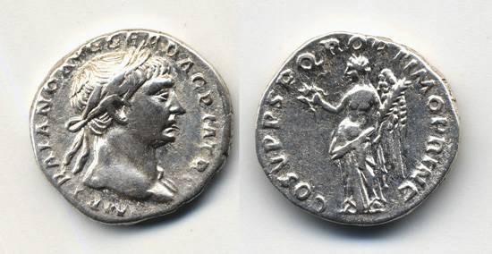 """Ancient Coins - Trajan AR Denarius, """"Victory"""", VF+"""