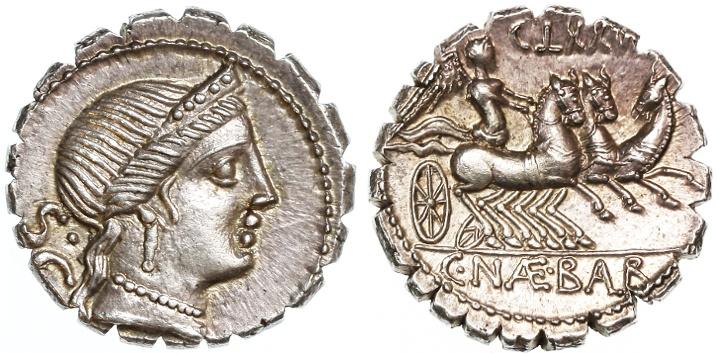 Ancient Coins - C. Naevius Balbus AR Denarius, SUPERB Almost as struck, 80 B.C.E.