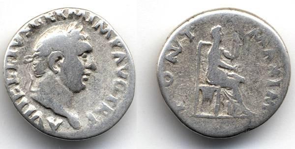 """Ancient Coins - Vitellius AR Denarius, Pleasant Fine, """"Pont Maxim"""""""