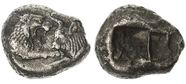 Ancient Coins - Kroisos, Kings of Lydia AR Siglos - Half Stater, Very Fine+, 560 - 546 B.C.E.