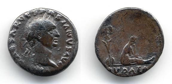 "Ancient Coins - Vespasian ""Judaea Capta"" Denarius, AVF, IVDAEA"