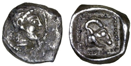 Ancient Coins - Philistia AR Reva Ma'ah, EXTREMELY Rare & Unpublished, VF+/EF, see notes, 5th - 4th Century B.C.E.