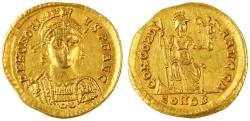 Ancient Coins - Honorius AV Gold Solidus, About Extremely Fine, 397 - 402 C.E.