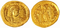Ancient Coins - Anastasius AV Gold Soldius, EF/Near Mint, 507 - 518 C.E.