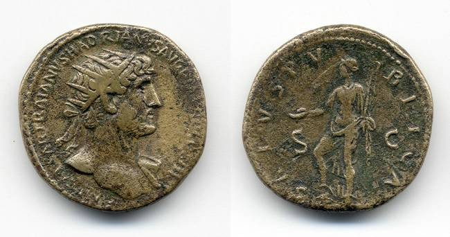 Ancient Coins - Hadrian Dupondius, Nice Tiber Patina, Provenanced ex. Boston Museum of Fine Arts