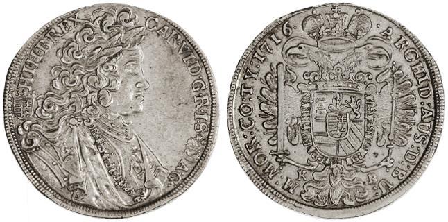 World Coins - Karl VI AR 1/2 Taler, GVF/AEF, Kremnitz, Austria 1716