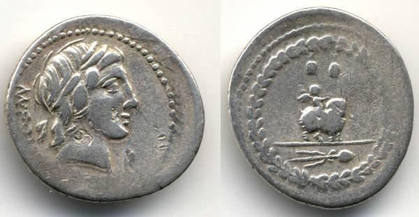 "Ancient Coins - Mn. Fonteius Republican Denarius, 85 B.C.E. ""Caps of the Dioscuri"", VF/AVF"