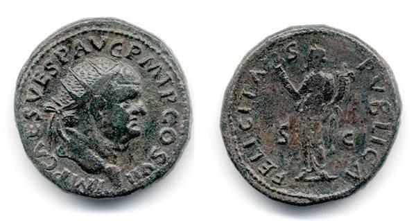 Ancient Coins - Vespasian Dupondius, NICE VF, 75 C.E.