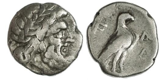 Ancient Coins - Elis, Olympia AR Hemidrachm, RARE, VF/F+, of the BCD collection, 360 - 323 B.C.E.