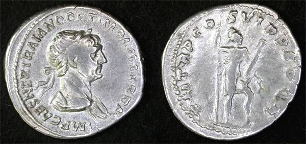 "Ancient Coins - Trajan AR Denarius, VF, ""Mars"""