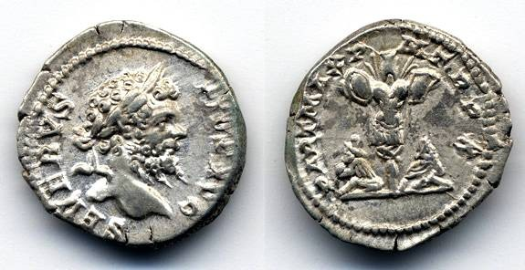 "Ancient Coins - Septimius Severus AR Denarius, EF, Trophy and Parthian Captives, ""PART MAX"","