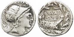 Ancient Coins - Q. Lutatius Cerco AR Denarius, Toned AVF, 109/108 B.C.E.