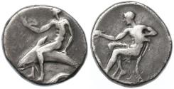 Ancient Coins - Calabria, Tarentum Early AR Nomos, VERY RARE, Fine, 440 - 425 B.C.E.
