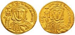 Ancient Coins - Constantine V Copronymus & Leo IV Gold AV Solidus, VF+, Circa. 741 - 751 C.E.