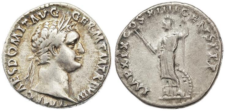 Ancient Coins - Domitian AR Denarius, Very Fine, 88/89 C.E.
