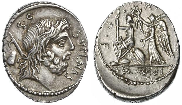 Ancient Coins - M. Nonius Sufenus AR Denarius, Toned EF/AEF, 57 B.C.E.