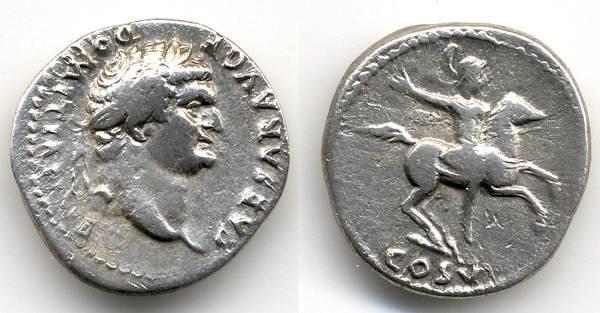 Ancient Coins - Domitian SCARCE AR Denarius as Caesar, VF, Horseman